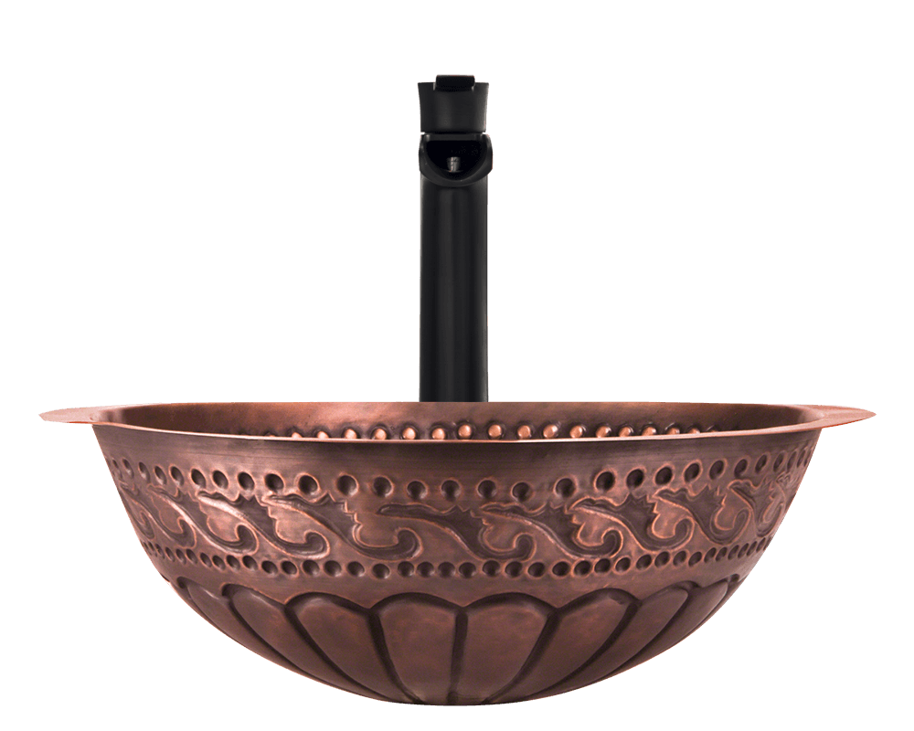924 Alt Image: 99.9% Pure, Mined Copper Natural /Undermount Round Bathroom Sink