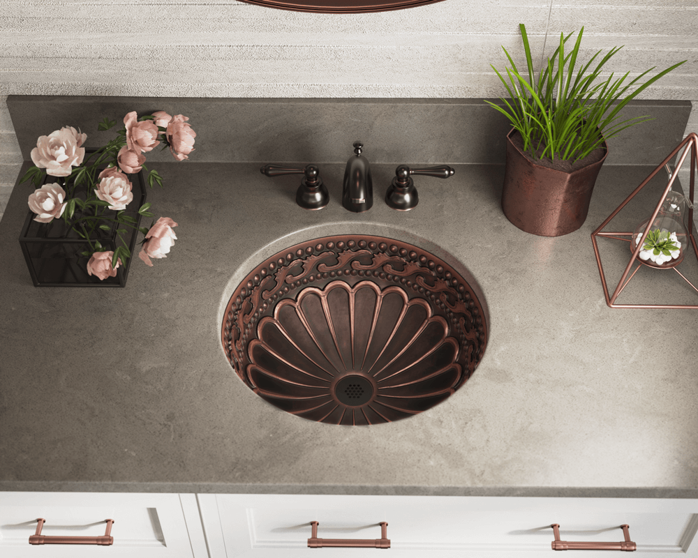 924 Lifestyle Image: 99.9% Pure, Mined Copper Round Natural /Undermount Bathroom Sink
