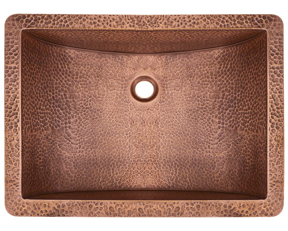 926 Alt Image: 99.9% Pure, Mined Copper Rectangle Undermount Natural Bathroom Sink