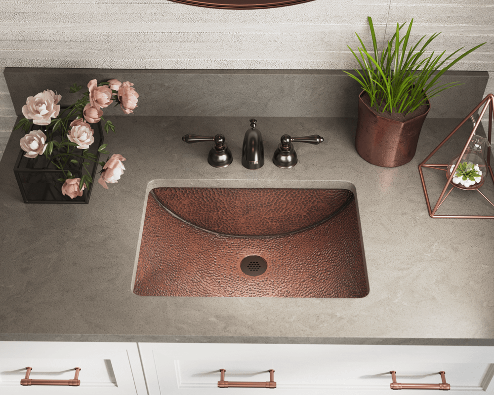 926 Lifestyle Image: 99.9% Pure, Mined Copper Rectangle Natural Undermount Bathroom Sink