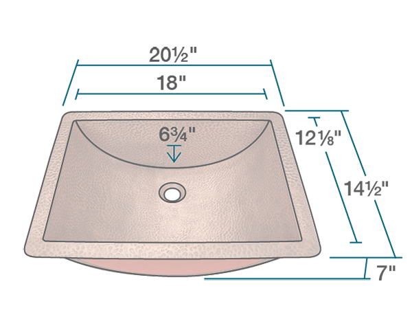 "The dimensions of 926 Single Bowl Copper Sink is 20 1/2"" x 14 1/2"" x 7"". Its minimum cabinet size is 21""."