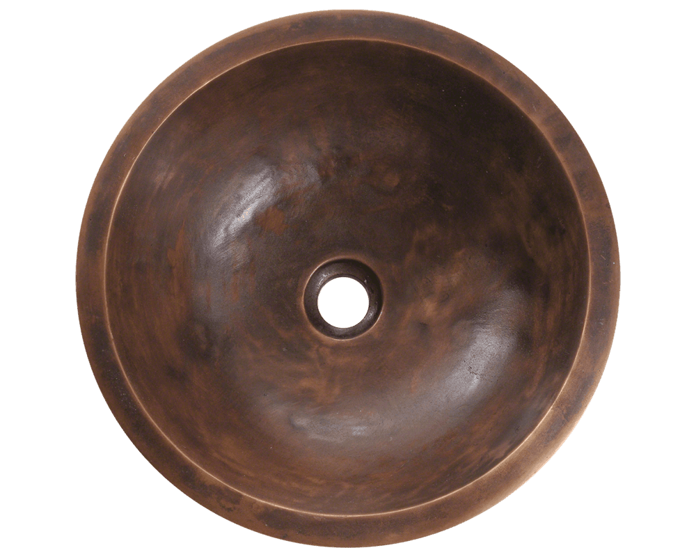 951 Alt Image: Pure Cast Bronze Round /Topmount One Bowl Bathroom Sink