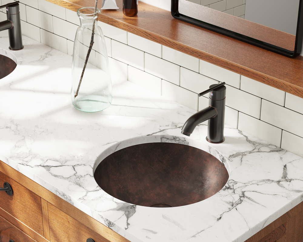 951 Lifestyle Image: Pure Cast Bronze Round One Bowl /Topmount Bathroom Sink