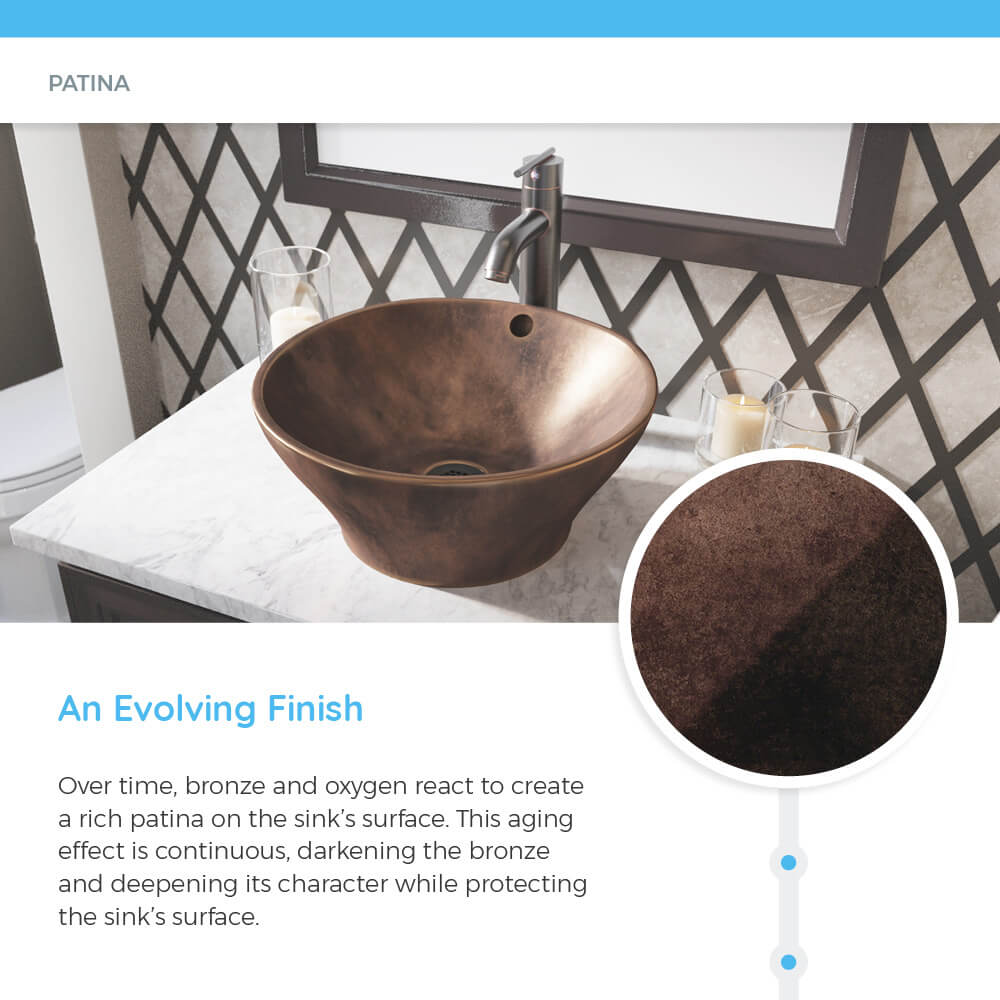 Bronze bathroom sink with patina