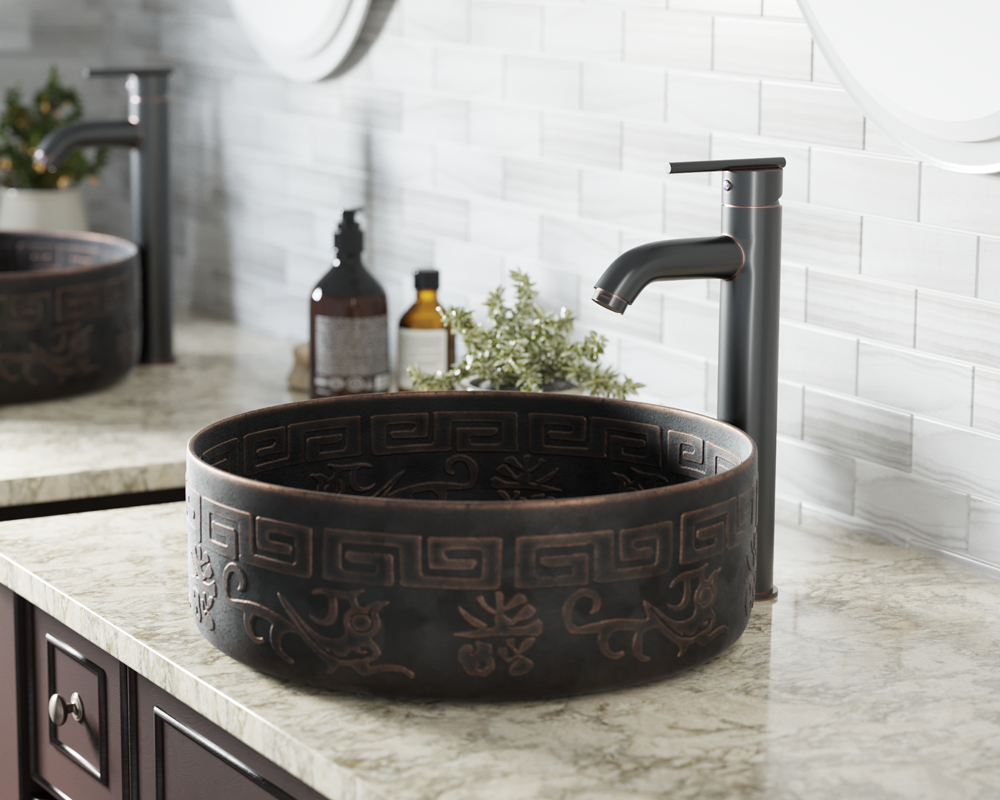 953 Lifestyle Image: Pure Cast Bronze Round Vessel One Bowl Bathroom Sink
