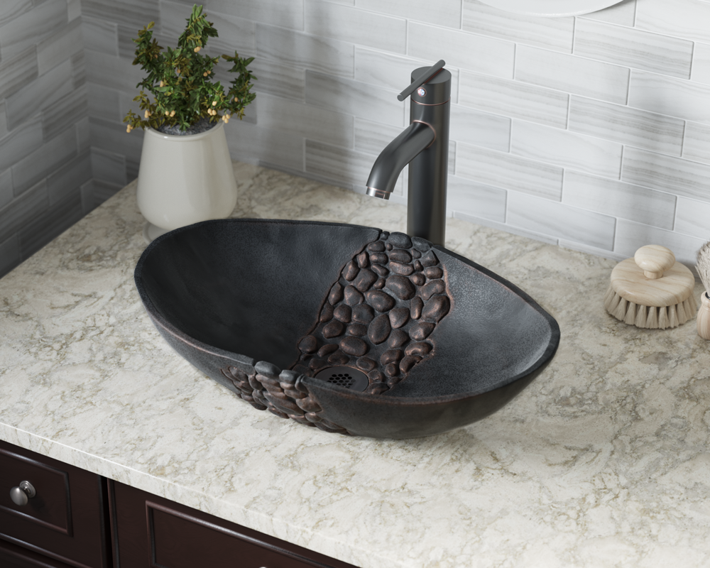 958 Lifestyle Image: Pure Cast Bronze Oval Vessel One Bowl Bathroom Sink