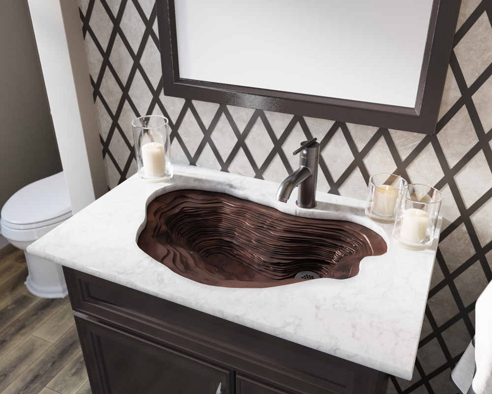 961 Lifestyle Image: Pure Cast Bronze Oval One Bowl Undermount Bathroom Sink