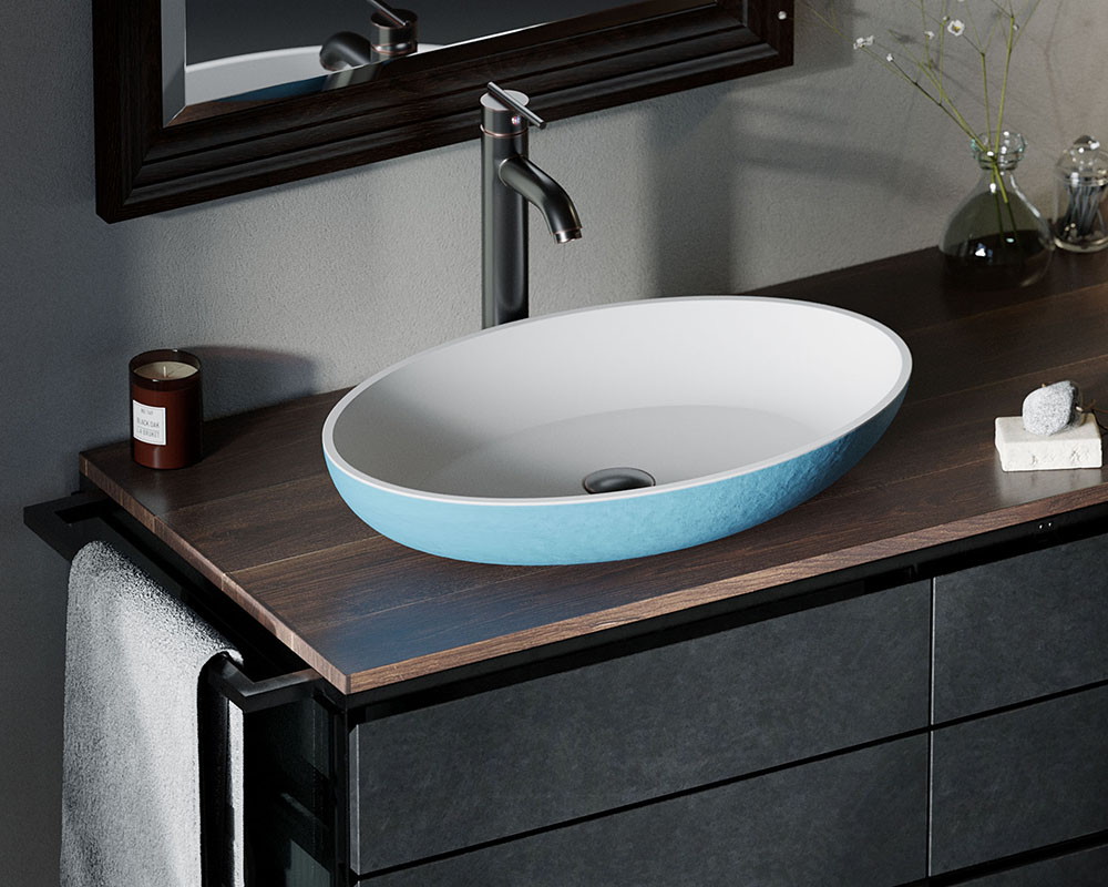 AB120 Lifestyle Image: PolyStone Vessel Round Blue Bathroom Sink
