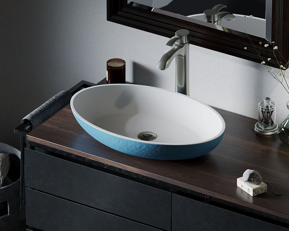 AB120 Lifestyle Image: PolyStone Round Vessel Blue Bathroom Sink