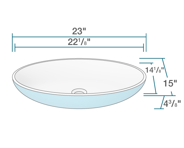 "The dimensions of AB120 PolyStone Oval Vessel Sink is 23"" x 15"" x 4 3/8"". Its minimum cabinet size is 24""."