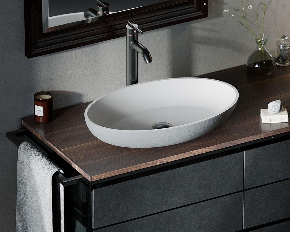 AB140 PolyStone Oval Vessel Sink