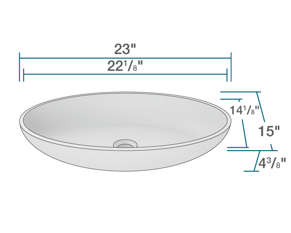 "The dimensions of AB140 PolyStone Oval Vessel Sink is 23"" x 15"" x 4 3/8"". Its minimum cabinet size is 24""."