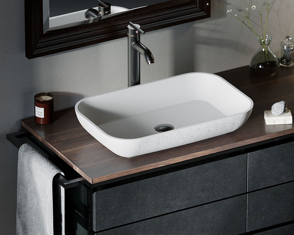 AB210 Lifestyle Image: PolyStone Vessel Rectangle White Bathroom Sink