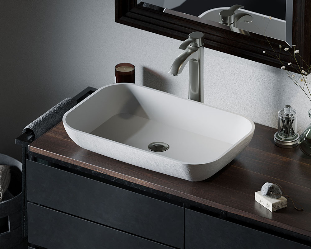 AB210 Lifestyle Image: PolyStone Rectangle Vessel White Bathroom Sink