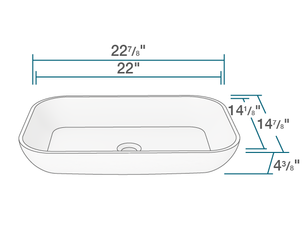 "The dimensions of AB210 PolyStone Rectangle Vessel Sink is 22 7/8"" x 14 7/8"" x 4 3/8"". Its minimum cabinet size is 24""."