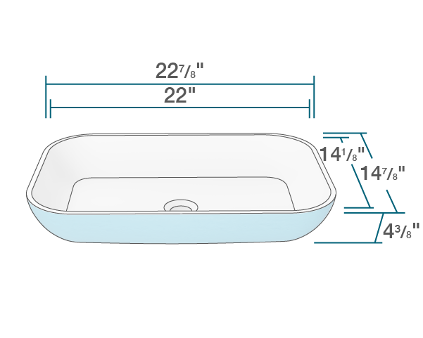 "The dimensions of AB220 PolyStone Rectangle Vessel Sink is 22 7/8"" x 14 7/8"" x 4 3/8"". Its minimum cabinet size is 24""."