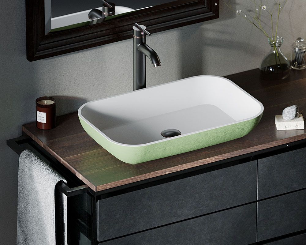 AB230 Lifestyle Image: PolyStone Vessel Rectangle Green Bathroom Sink