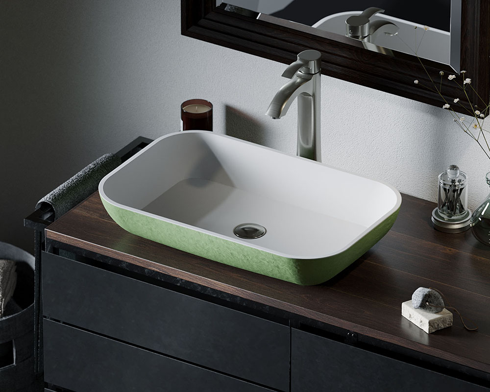 AB230 Lifestyle Image: PolyStone Rectangle Vessel Green Bathroom Sink