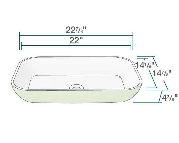 "The dimensions of AB230 PolyStone Rectangle Vessel Sink is 22 7/8"" x 14 7/8"" x 4 3/8"". Its minimum cabinet size is 24""."