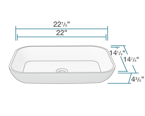 "The dimensions of AB240 PolyStone Rectangle Vessel Sink is 22 7/8"" x 14 7/8"" x 4 3/8"". Its minimum cabinet size is 24""."