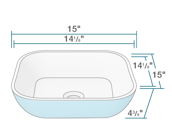 "The dimensions of AB320 PolyStone Square Vessel Sink is 15"" x 15"" x 4 3/8"". Its minimum cabinet size is 18""."
