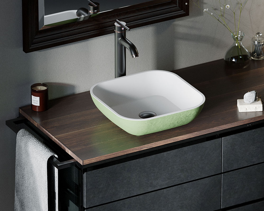 AB330 Lifestyle Image: PolyStone Vessel Square Green Bathroom Sink