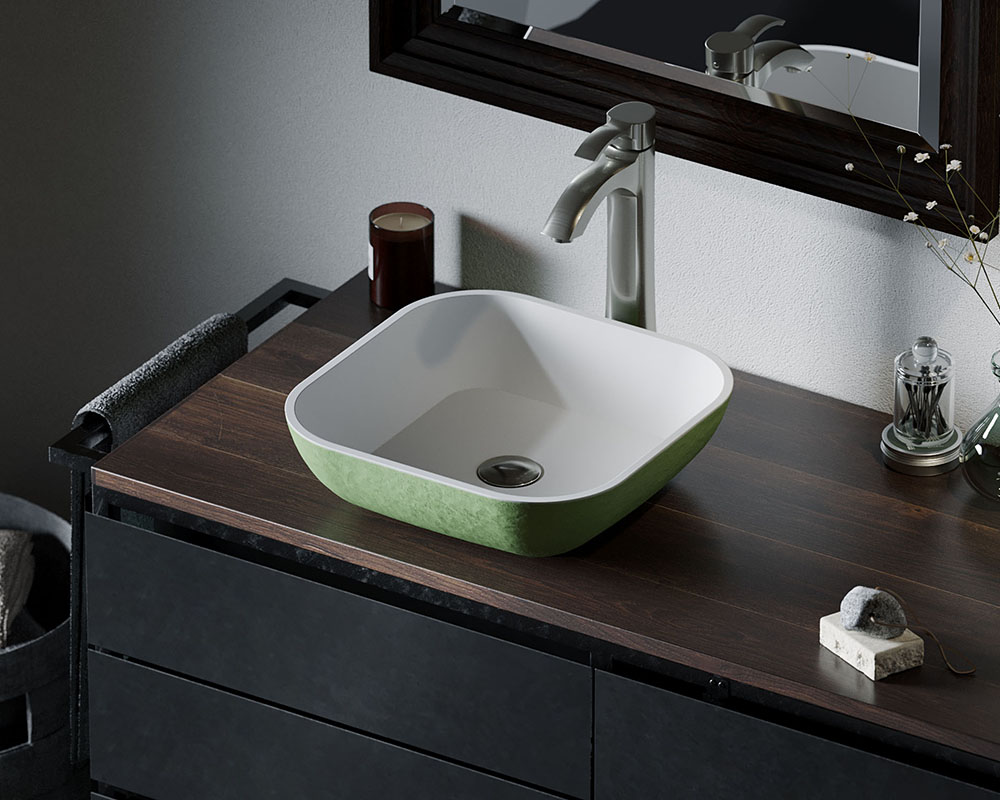 AB330 Lifestyle Image: PolyStone Square Vessel Green Bathroom Sink