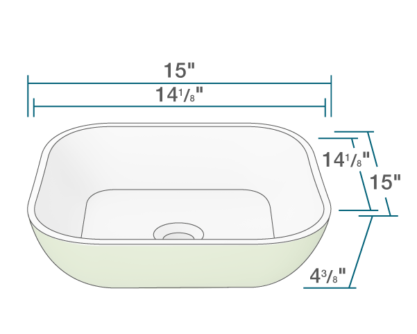 "The dimensions of AB330 PolyStone Square Vessel Sink is 15"" x 15"" x 4 3/8"". Its minimum cabinet size is 18""."