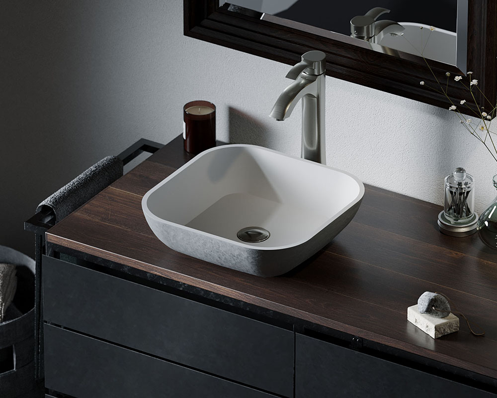 AB340 Lifestyle Image: PolyStone Square Vessel Slate Bathroom Sink
