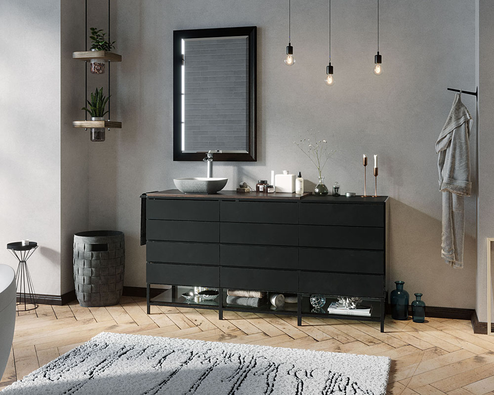 AB340 Lifestyle Image: PolyStone Square Slate Vessel Bathroom Sink