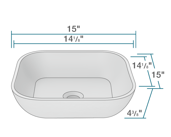 "The dimensions of AB340 PolyStone Square Vessel Sink is 15"" x 15"" x 4 3/8"". Its minimum cabinet size is 18""."