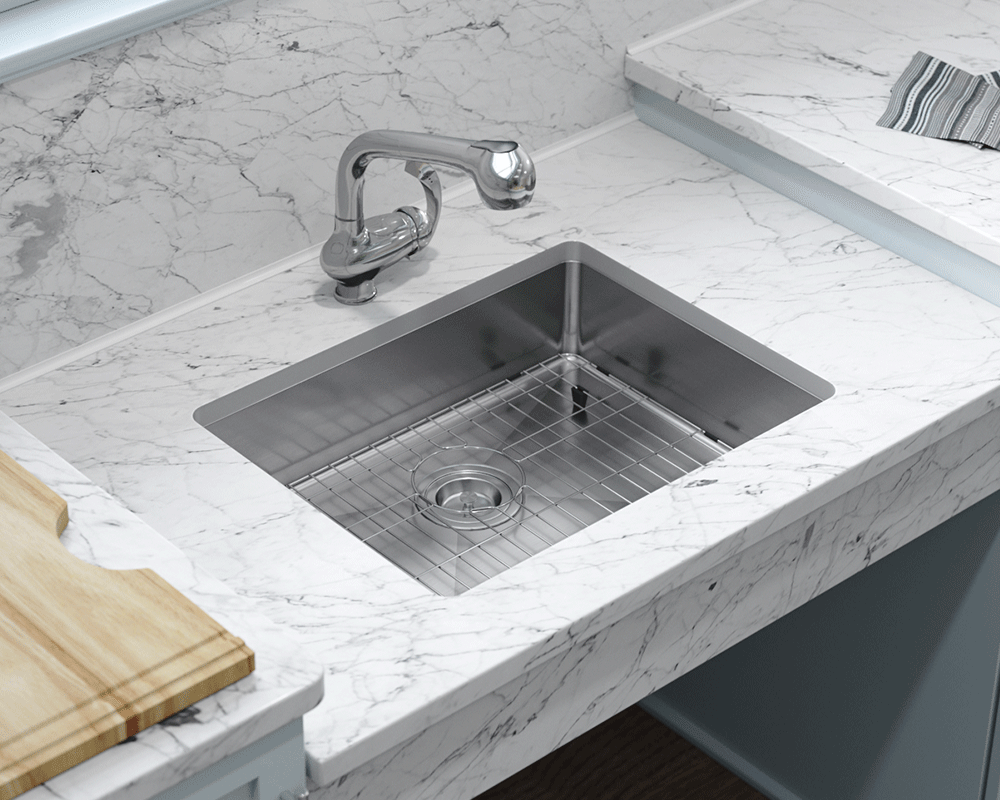 ADA1823-SLG Lifestyle Image: 304-Grade Stainless Steel Undermount to Laminate Rectangle One Bowl Kitchen Sink