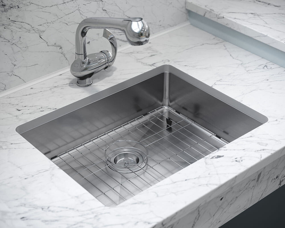 ADA1823-SLG Lifestyle Image: 304-Grade Stainless Steel Rectangle Undermount to Laminate One Bowl Kitchen Sink