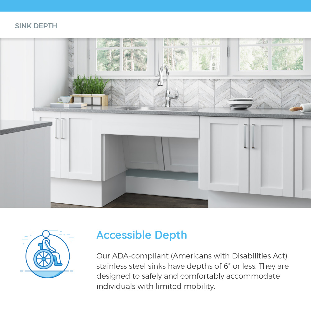 ADA-compliant sink in white and gray kitchen