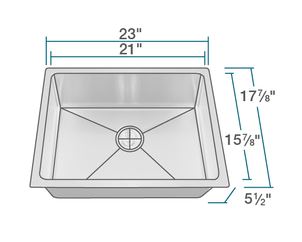 "The dimensions of ADA1823-SLG Stainless Steel Single Bowl 3/4"" Radius ADA Kitchen Sink with Gray SinkLink is 23"" x 17 7/8"" x 5 1/2"". Its minimum cabinet size is 24""."