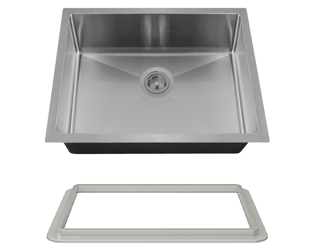 "MR Direct ADA1823-SLG Stainless Steel Single Bowl 3/4"" Radius ADA Kitchen Sink with Gray SinkLink"