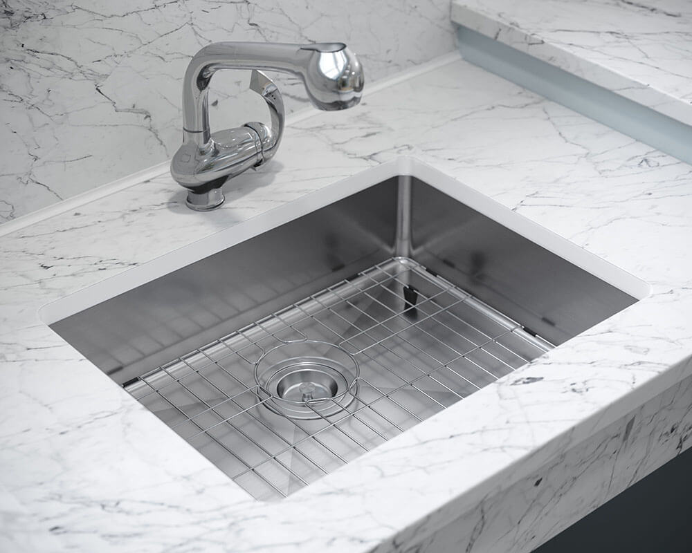 ADA1823-SLW Lifestyle Image: 304-Grade Stainless Steel Rectangle Undermount to Laminate One Bowl Kitchen Sink