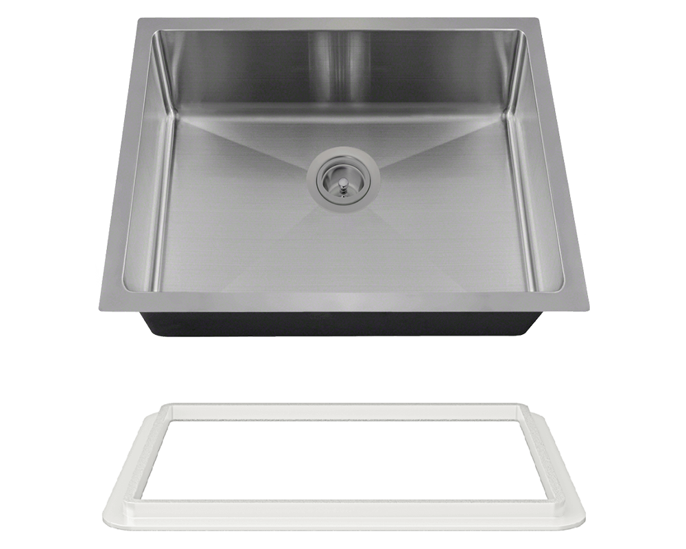 "MR Direct ADA1823-SLW Stainless Steel Single Bowl 3/4"" Radius ADA Kitchen Sink with White SinkLink"