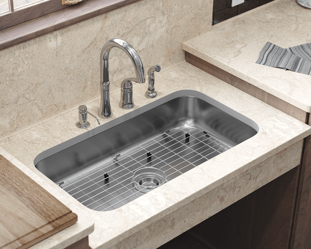 ADA3218C-SLG Lifestyle Image: 304-Grade Stainless Steel Undermount to Laminate One Bowl Rectangle Kitchen Sink