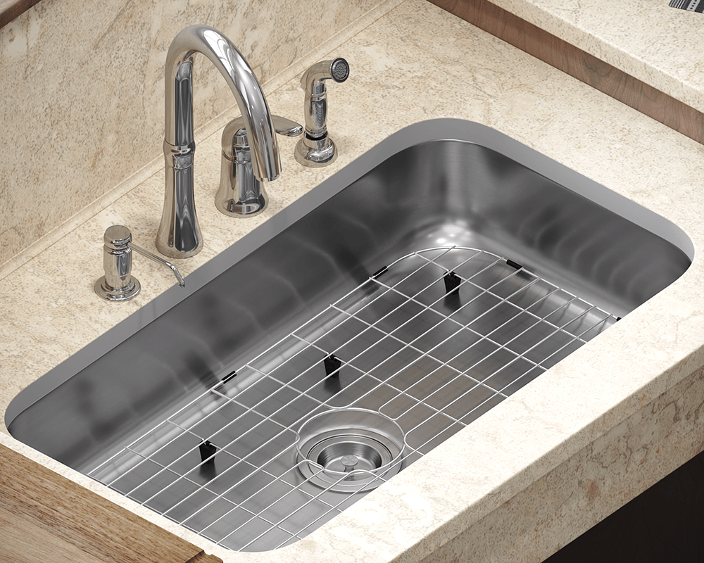 ADA3218C-SLG Lifestyle Image: 304-Grade Stainless Steel Rectangle Undermount to Laminate One Bowl Kitchen Sink
