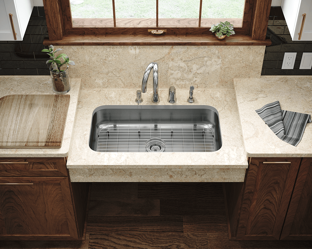 ADA3218C-SLG Lifestyle Image: 304-Grade Stainless Steel Rectangle One Bowl Undermount to Laminate Kitchen Sink