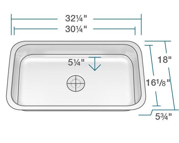 "The dimensions of ADA3218C-SLG Single Bowl Undermount Stainless Steel ADA Sink with SinkLink is 32 1/4"" x 18"" x 5 3/4"". Its minimum cabinet size is 33""."