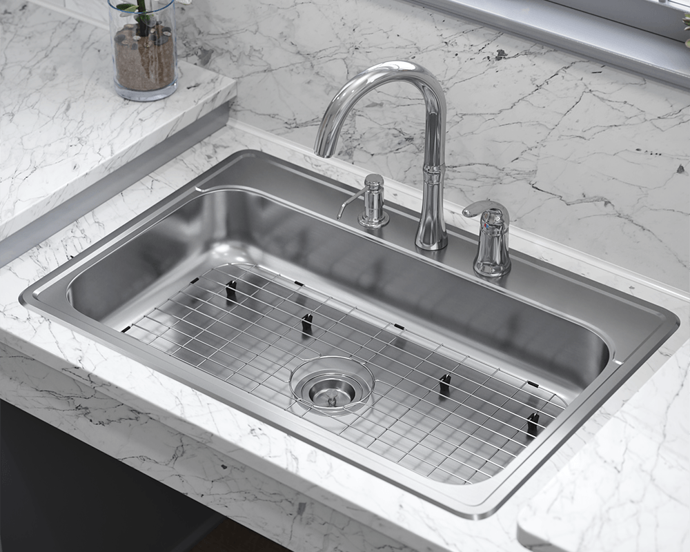 ADAT550S Lifestyle Image: 304-Grade Stainless Steel Topmount Rectangle One Bowl Kitchen Sink