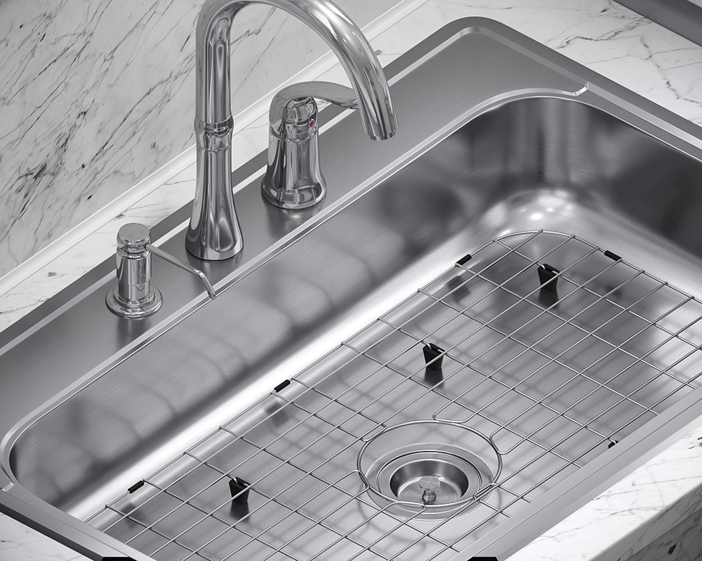 ADAT550S Lifestyle Image: 304-Grade Stainless Steel Rectangle Topmount One Bowl Kitchen Sink