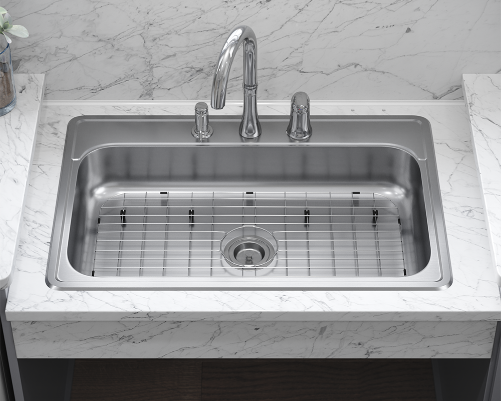 ADAT550S Lifestyle Image: 304-Grade Stainless Steel Rectangle One Bowl Topmount Kitchen Sink