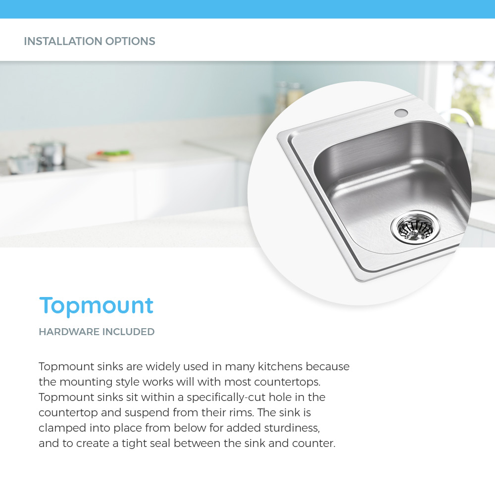 Topmount stainless steel sink