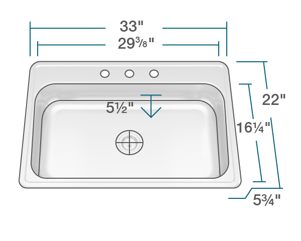 "The dimensions of ADAT550S Single Bowl Stainless Steel ADA Sink is 33"" x 22"" x 5 3/4"". Its minimum cabinet size is 33""."