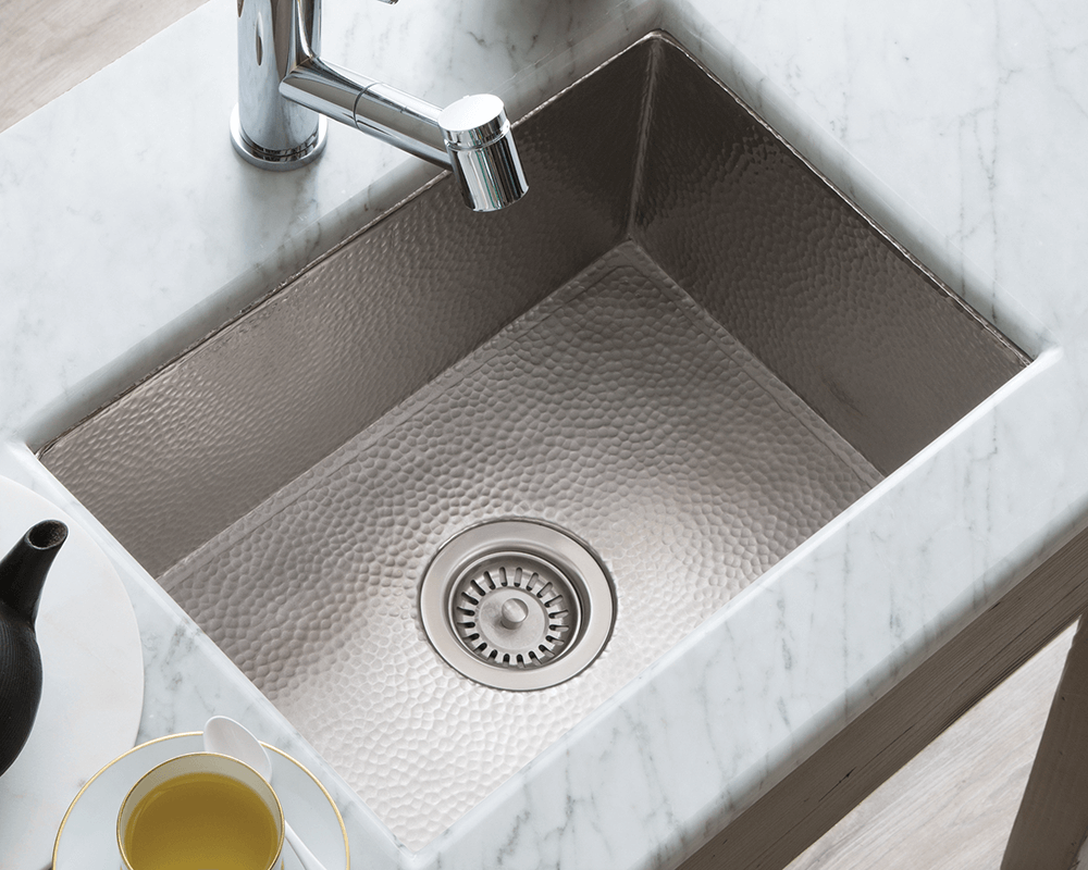 CPK578 Lifestyle Image: Copper/Brushed Nickel Undermount Brushed Nickel One Bowl Kitchen Sink