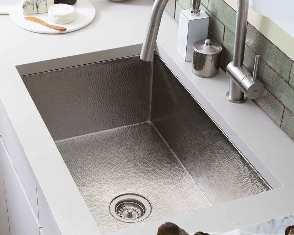CPK593 Lifestyle Image: Copper/Brushed Nickel Undermount Brushed Nickel One Bowl Kitchen Sink