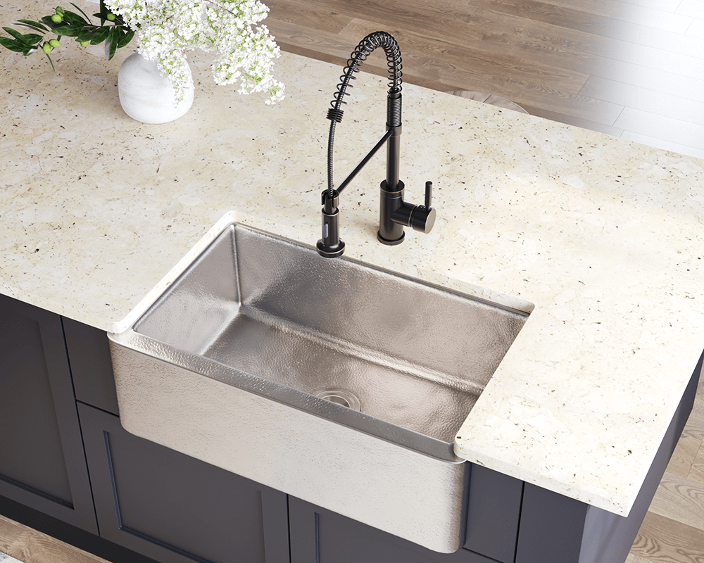 CPK594 Lifestyle Image: Copper/Brushed Nickel Apron Brushed Nickel One Bowl Kitchen Sink